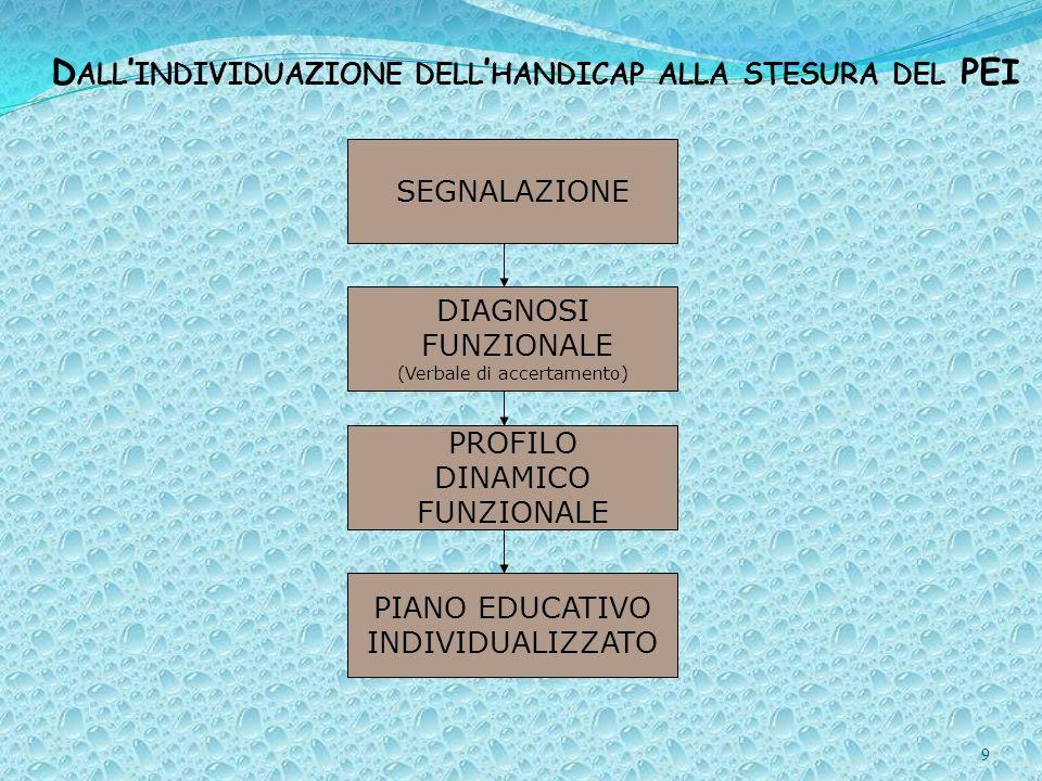 9 D ALL INDIVIDUAZIONE DELL HANDICAP ALLA STESURA DEL PEI SEGNALAZIONE DIAGNOSI FUNZIONALE (Verbale di accertamento) PROFILO DINAMICO FUNZIONALE PIANO