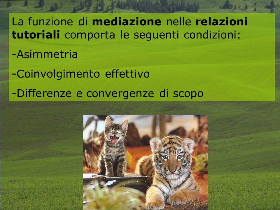 La funzione di mediazione nelle relazioni tutoriali comporta le seguenti condizioni: -Asimmetria -Coinvolgimento effettivo -Differenze e convergenze di scopo