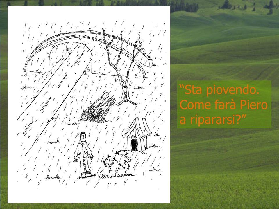 Sta piovendo. Come farà Piero a ripararsi?