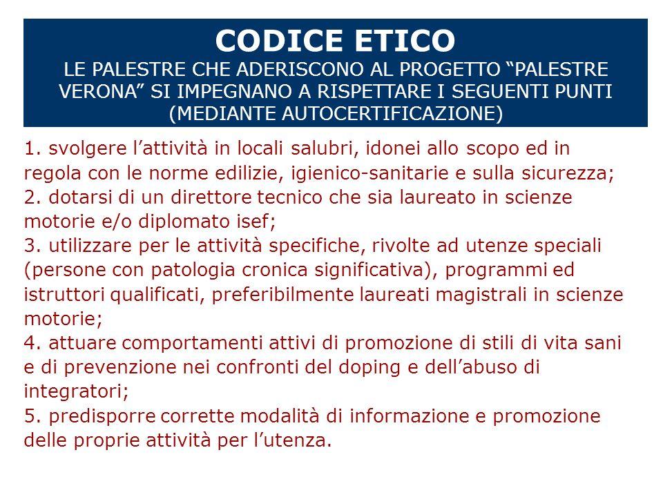 CODICE ETICO LE PALESTRE CHE ADERISCONO AL PROGETTO PALESTRE VERONA SI IMPEGNANO A RISPETTARE I SEGUENTI PUNTI (MEDIANTE AUTOCERTIFICAZIONE) 1. svolge