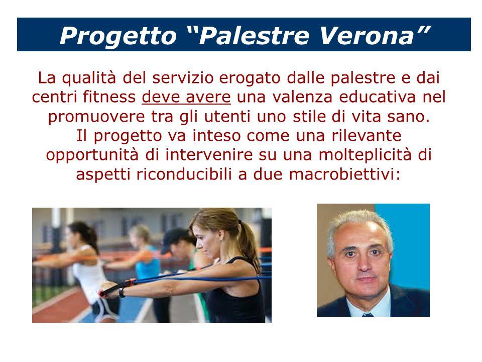 Progetto Palestre Verona La qualità del servizio erogato dalle palestre e dai centri fitness deve avere una valenza educativa nel promuovere tra gli u