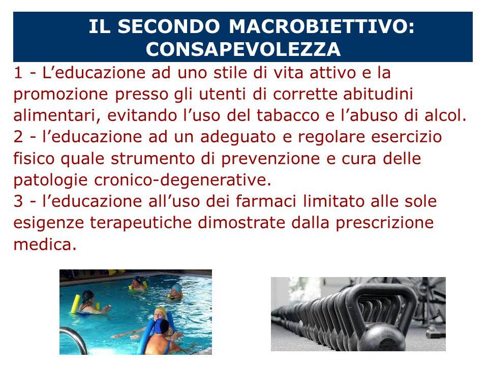 IL SECONDO MACROBIETTIVO: CONSAPEVOLEZZA 1 - Leducazione ad uno stile di vita attivo e la promozione presso gli utenti di corrette abitudini alimentar