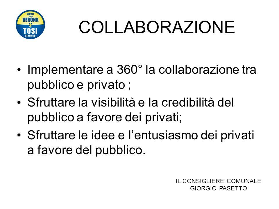 COLLABORAZIONE Implementare a 360° la collaborazione tra pubblico e privato ; Sfruttare la visibilità e la credibilità del pubblico a favore dei privati; Sfruttare le idee e lentusiasmo dei privati a favore del pubblico.