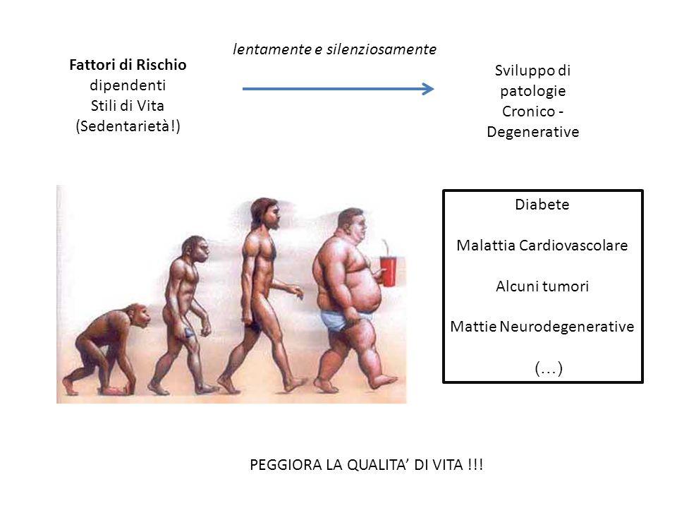 Fattori di Rischio dipendenti Stili di Vita (Sedentarietà!) Sviluppo di patologie Cronico - Degenerative lentamente e silenziosamente Diabete Malattia