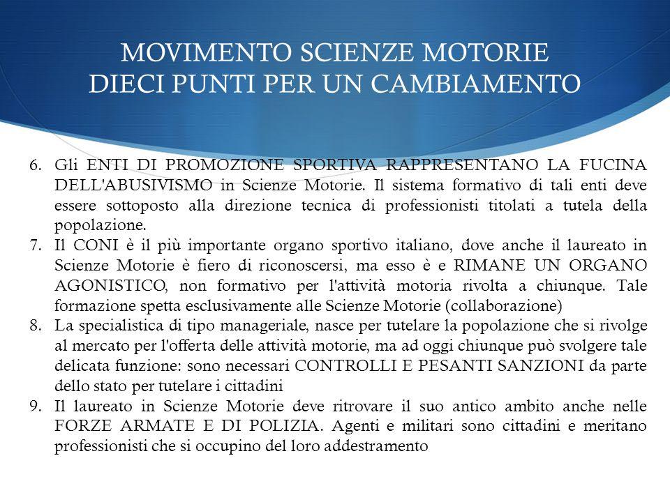 MOVIMENTO SCIENZE MOTORIE DIECI PUNTI PER UN CAMBIAMENTO 6.Gli ENTI DI PROMOZIONE SPORTIVA RAPPRESENTANO LA FUCINA DELL'ABUSIVISMO in Scienze Motorie.