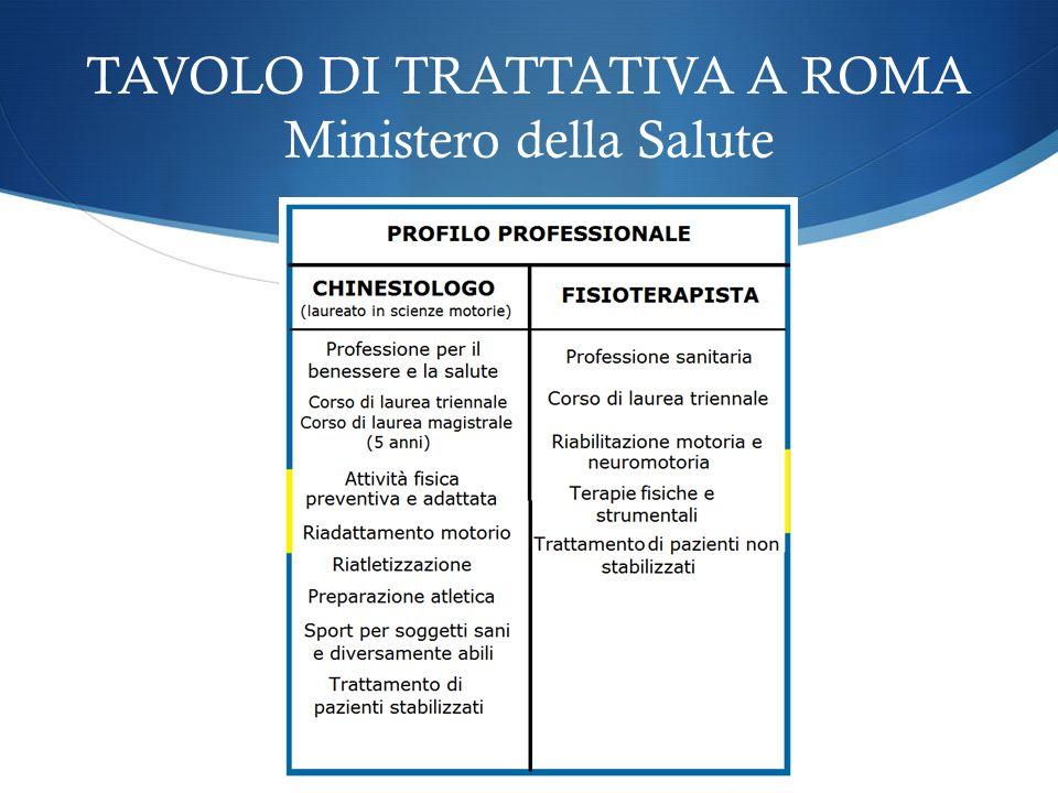 TAVOLO DI TRATTATIVA A ROMA Ministero della Salute