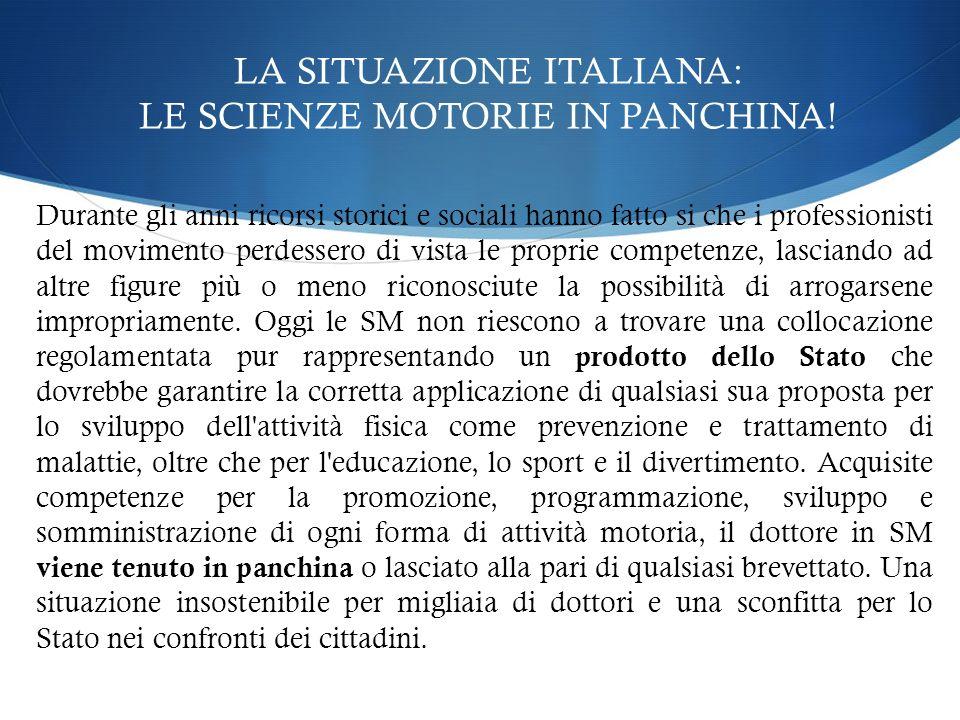 LA SITUAZIONE ITALIANA Non esiste nessun Ente o organismo riconosciuto dallo Stato e dalle Università che tuteli e promuova dei CORSI ALTAMENTE PROFESSIONALIZZANTI per i SOLI laureati in SM Esistono diverse (troppe) associazioni/enti che mirano a una LEGGE DI TUTELA del laureato SM ma nessuna è riuscita nel vero intento: il RICONOSCIMENTO PROFESSIONALE .