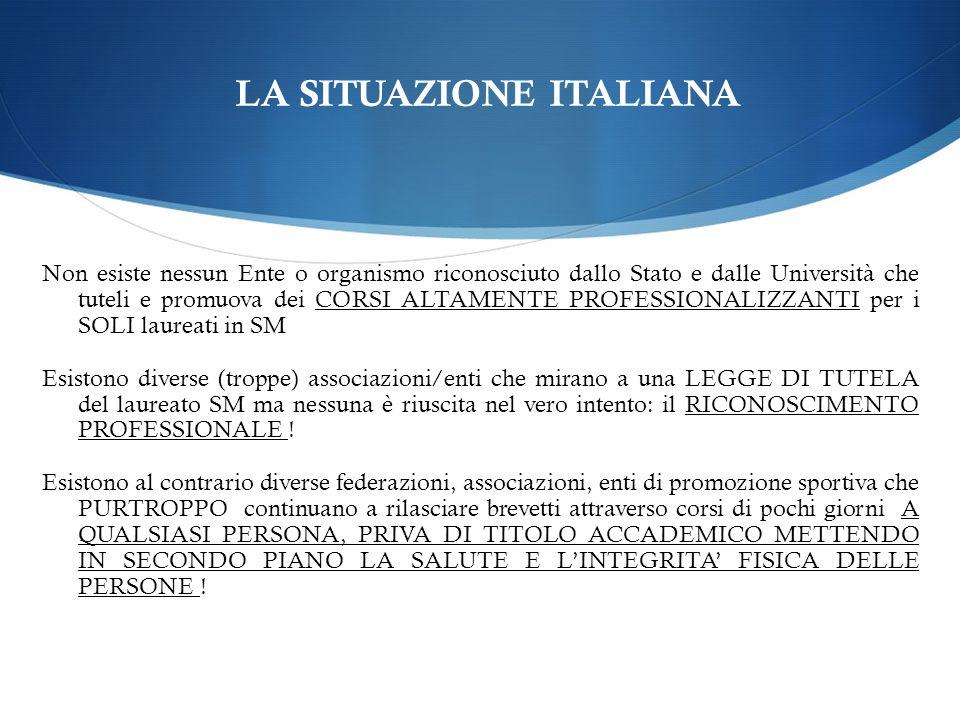 LA SITUAZIONE ITALIANA Non esiste nessun Ente o organismo riconosciuto dallo Stato e dalle Università che tuteli e promuova dei CORSI ALTAMENTE PROFES