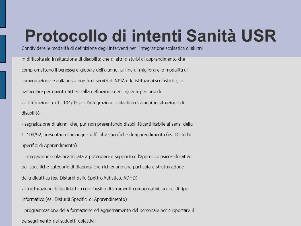 Protocollo di intenti Sanità USR Condividere le modalità di definizione degli interventi per lintegrazione scolastica di alunni in difficoltà sia in s
