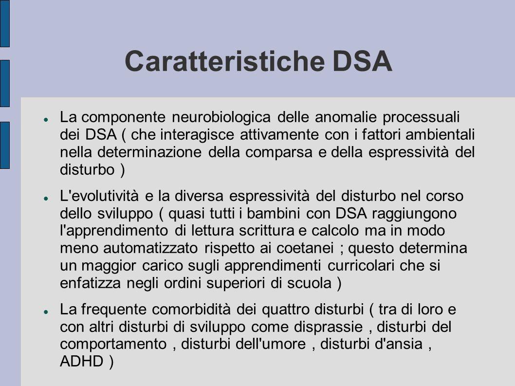 Caratteristiche DSA La componente neurobiologica delle anomalie processuali dei DSA ( che interagisce attivamente con i fattori ambientali nella deter