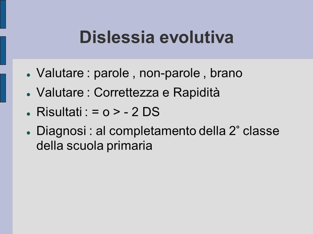 Dislessia evolutiva Valutare : parole, non-parole, brano Valutare : Correttezza e Rapidità Risultati : = o > - 2 DS Diagnosi : al completamento della