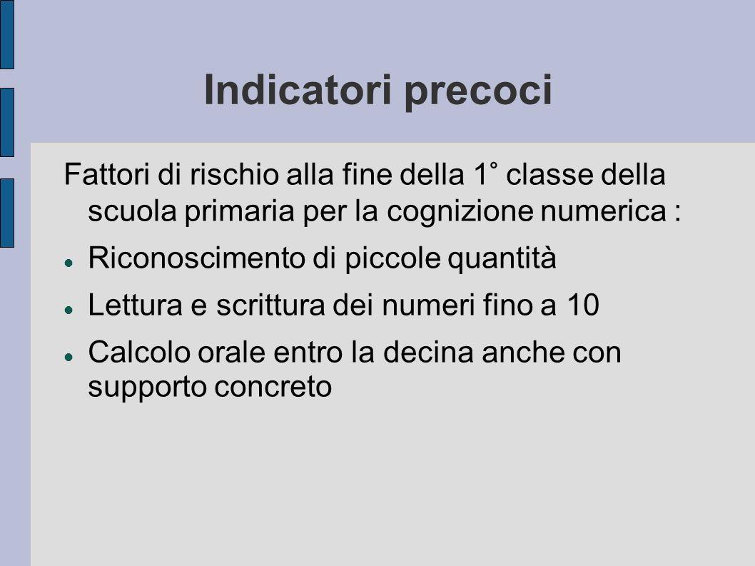Indicatori precoci Fattori di rischio alla fine della 1° classe della scuola primaria per la cognizione numerica : Riconoscimento di piccole quantità