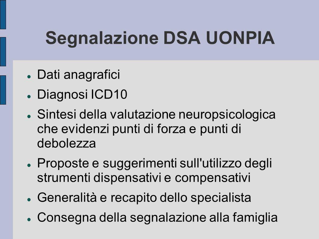 Segnalazione DSA UONPIA Dati anagrafici Diagnosi ICD10 Sintesi della valutazione neuropsicologica che evidenzi punti di forza e punti di debolezza Pro