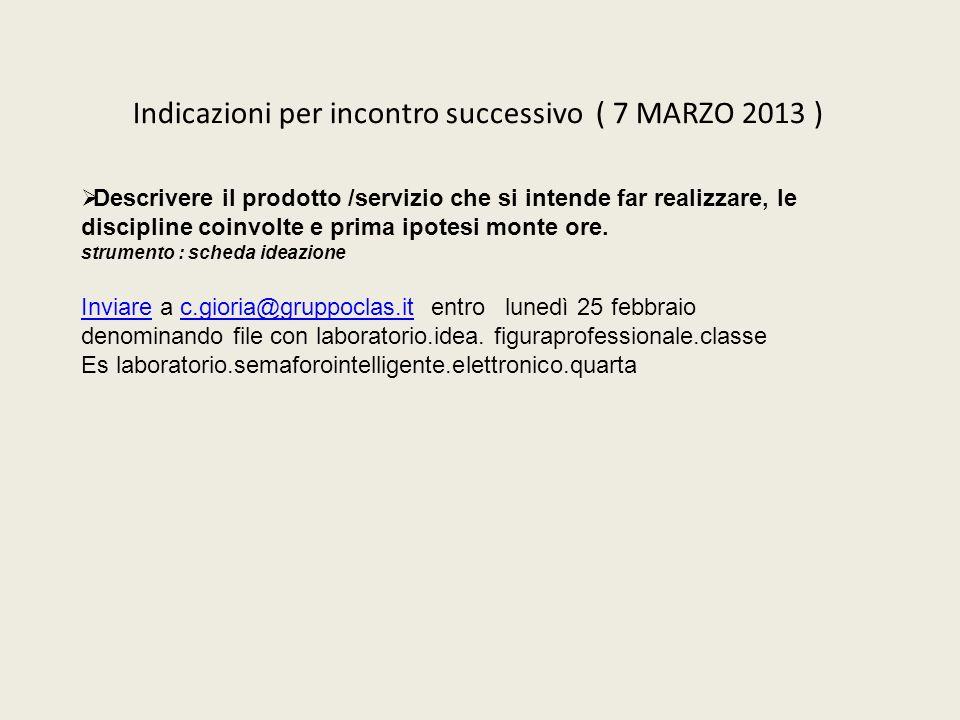 Indicazioni per incontro successivo ( 7 MARZO 2013 ) Descrivere il prodotto /servizio che si intende far realizzare, le discipline coinvolte e prima i