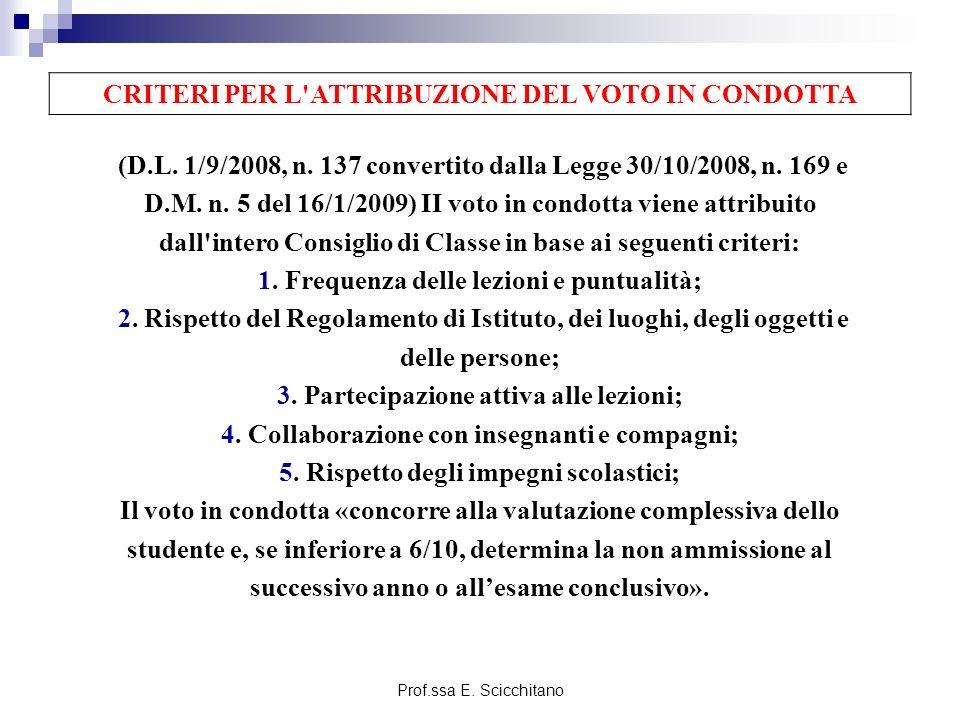 Prof.ssa E.Scicchitano (D.L. 1/9/2008, n. 137 convertito dalla Legge 30/10/2008, n.