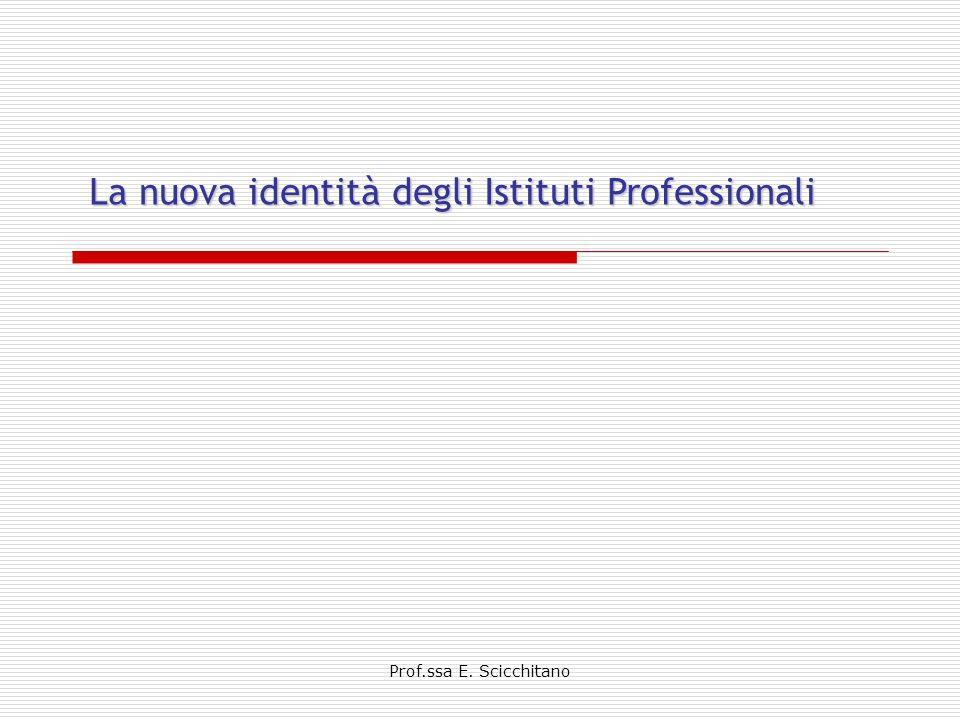 Identità degli Istituti Professionali solida base di istruzione generale e tecnica professionale sviluppare in una dimensione operativa i saperi e le competenze esigenze formative del settore produttivo di riferimento