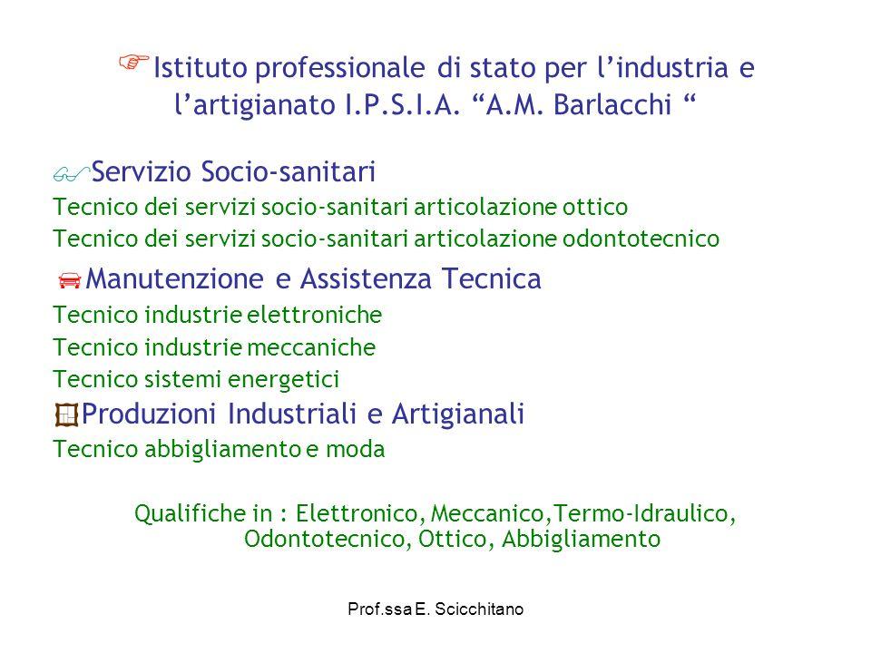 Prof.ssa E.Scicchitano ARTICOLAZIONE DEI LICEI 1.