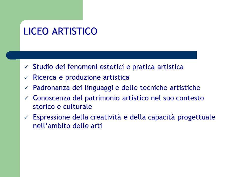 PERCORSO LICEO ARTISTICO Si articola, a partire dal secondo biennio, nei seguenti indirizzi: arti figurative; arti figurative; architettura e ambiente; architettura e ambiente; design; design; audiovisivo e multimediale; audiovisivo e multimediale; grafica; grafica; scenografia.