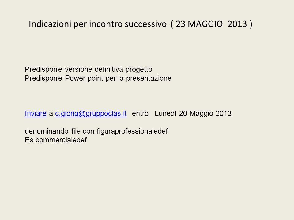 Indicazioni per incontro successivo ( 23 MAGGIO 2013 ) Predisporre versione definitiva progetto Predisporre Power point per la presentazione InviareIn
