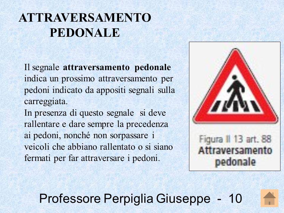 Professore Perpiglia Giuseppe - 10 Il segnale attraversamento pedonale indica un prossimo attraversamento per pedoni indicato da appositi segnali sull