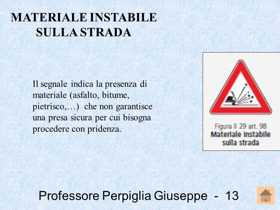 Professore Perpiglia Giuseppe - 13 Il segnale indica la presenza di materiale (asfalto, bitume, pietrisco,…) che non garantisce una presa sicura per c