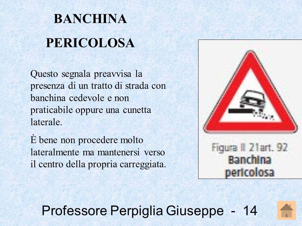 Professore Perpiglia Giuseppe - 14 Questo segnala preavvisa la presenza di un tratto di strada con banchina cedevole e non praticabile oppure una cune