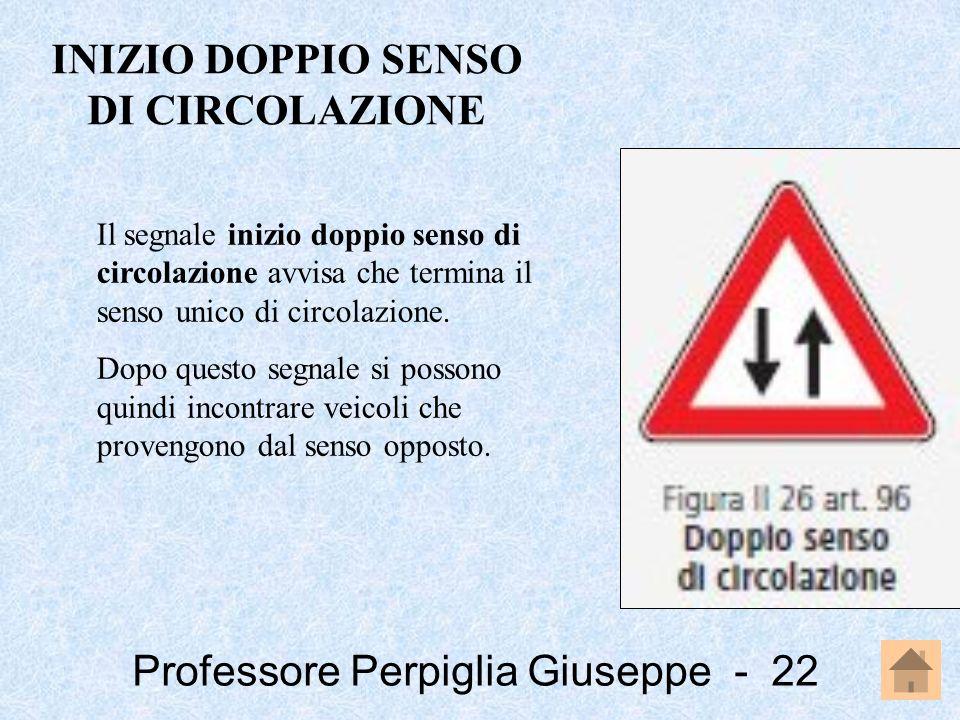 Professore Perpiglia Giuseppe - 22 Il segnale inizio doppio senso di circolazione avvisa che termina il senso unico di circolazione. Dopo questo segna