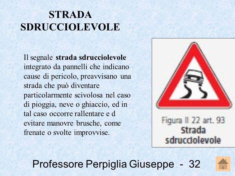 Professore Perpiglia Giuseppe - 32 Il segnale strada sdrucciolevole integrato da pannelli che indicano cause di pericolo, preavvisano una strada che p