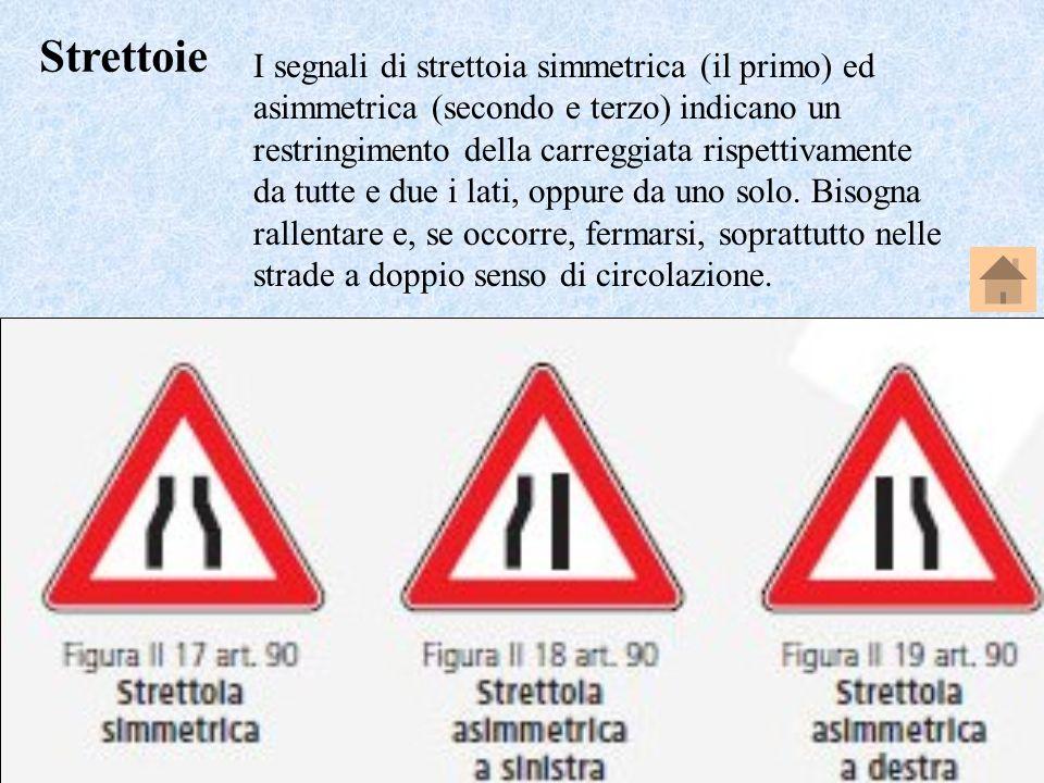 Professore Perpiglia Giuseppe - 33 I segnali di strettoia simmetrica (il primo) ed asimmetrica (secondo e terzo) indicano un restringimento della carr