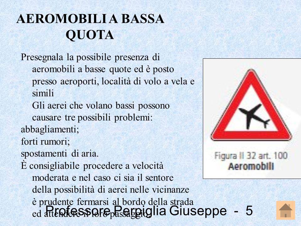 Professore Perpiglia Giuseppe - 5 Presegnala la possibile presenza di aeromobili a basse quote ed è posto presso aeroporti, località di volo a vela e