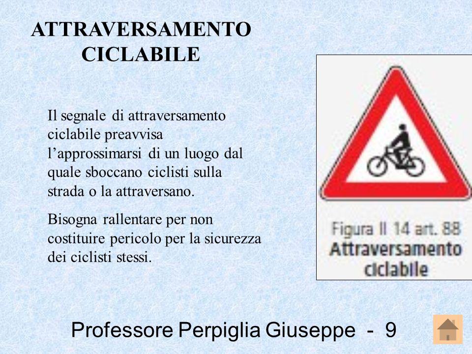 Professore Perpiglia Giuseppe - 9 Il segnale di attraversamento ciclabile preavvisa lapprossimarsi di un luogo dal quale sboccano ciclisti sulla strad