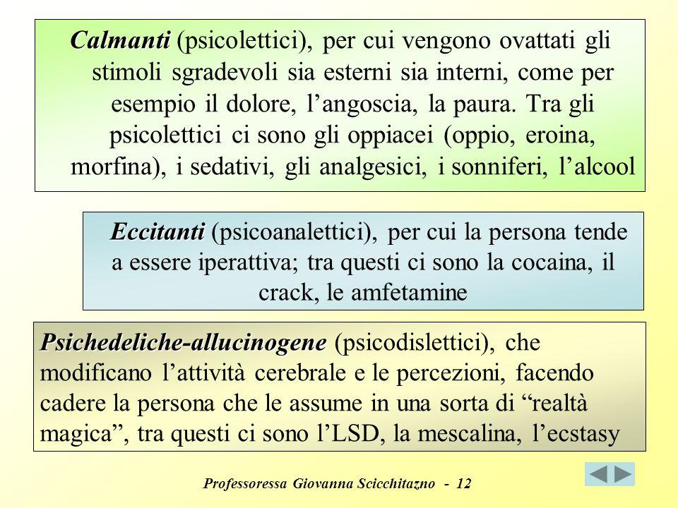 Professoressa Giovanna Scicchitazno - 12 Calmanti (psicolettici), per cui vengono ovattati gli stimoli sgradevoli sia esterni sia interni, come per esempio il dolore, langoscia, la paura.