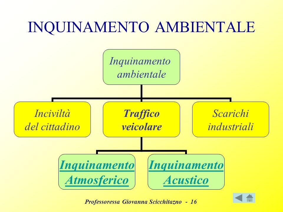 Professoressa Giovanna Scicchitazno - 16 INQUINAMENTO AMBIENTALE Inquinamento ambientale Inciviltà del cittadino Traffico veicolare Inquinamento Atmosferico Inquinamento Acustico Scarichi industriali