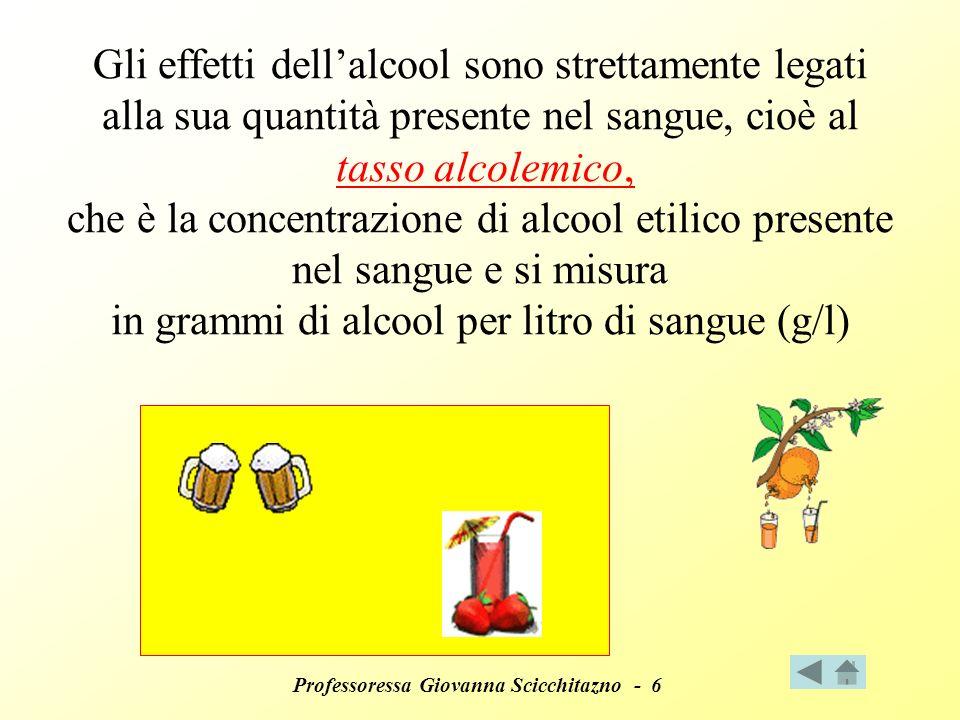Professoressa Giovanna Scicchitazno - 6 Gli effetti dellalcool sono strettamente legati alla sua quantità presente nel sangue, cioè al tasso alcolemico, che è la concentrazione di alcool etilico presente nel sangue e si misura in grammi di alcool per litro di sangue (g/l)