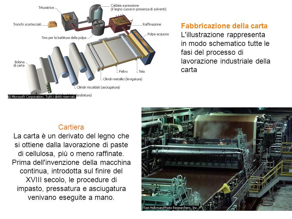 Fabbricazione della carta L'illustrazione rappresenta in modo schematico tutte le fasi del processo di lavorazione industriale della carta Cartiera La
