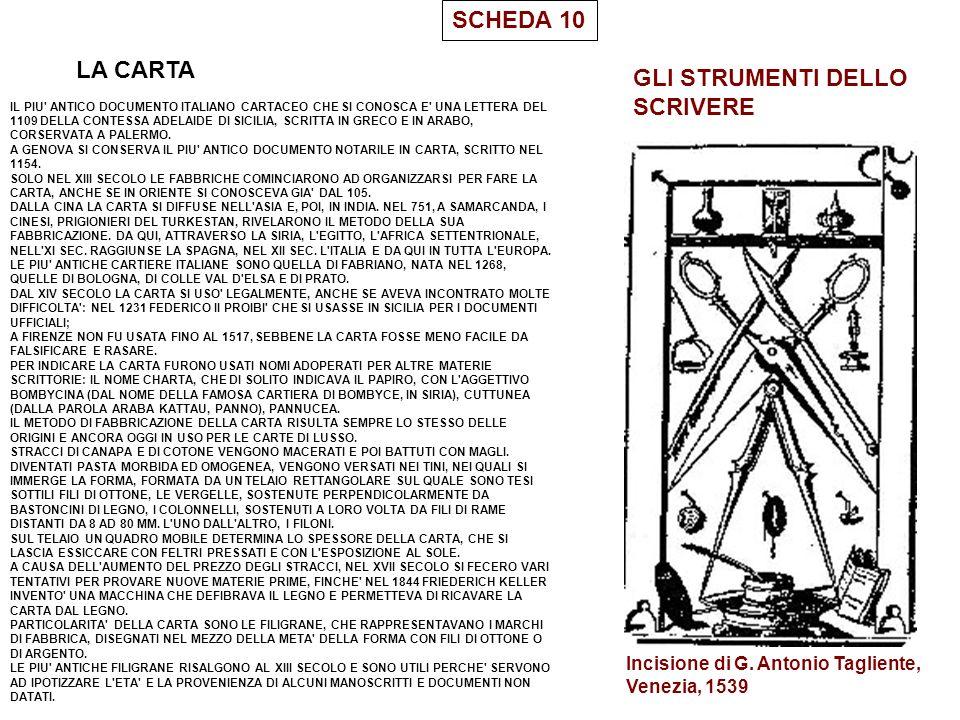 SCHEDA 10 LA CARTA IL PIU' ANTICO DOCUMENTO ITALIANO CARTACEO CHE SI CONOSCA E' UNA LETTERA DEL 1109 DELLA CONTESSA ADELAIDE DI SICILIA, SCRITTA IN GR