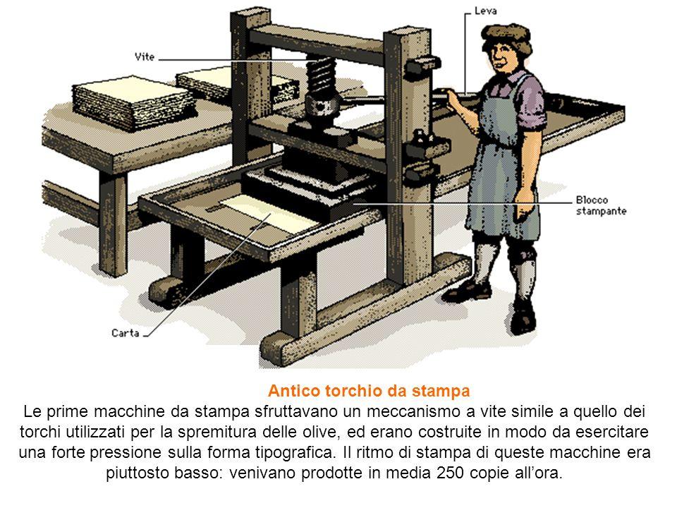 Antico torchio da stampa Le prime macchine da stampa sfruttavano un meccanismo a vite simile a quello dei torchi utilizzati per la spremitura delle ol