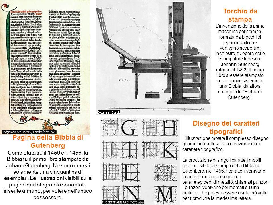 Pagina della Bibbia di Gutenberg Completata tra il 1450 e il 1456, la Bibbia fu il primo libro stampato da Johann Gutenberg. Ne sono rimasti solamente