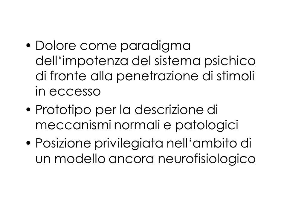 Dolore come paradigma dellimpotenza del sistema psichico di fronte alla penetrazione di stimoli in eccesso Prototipo per la descrizione di meccanismi normali e patologici Posizione privilegiata nellambito di un modello ancora neurofisiologico