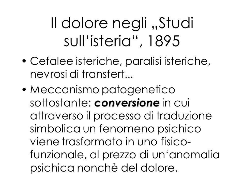 Il dolore negli Studi sullisteria, 1895 Cefalee isteriche, paralisi isteriche, nevrosi di transfert... conversioneMeccanismo patogenetico sottostante: