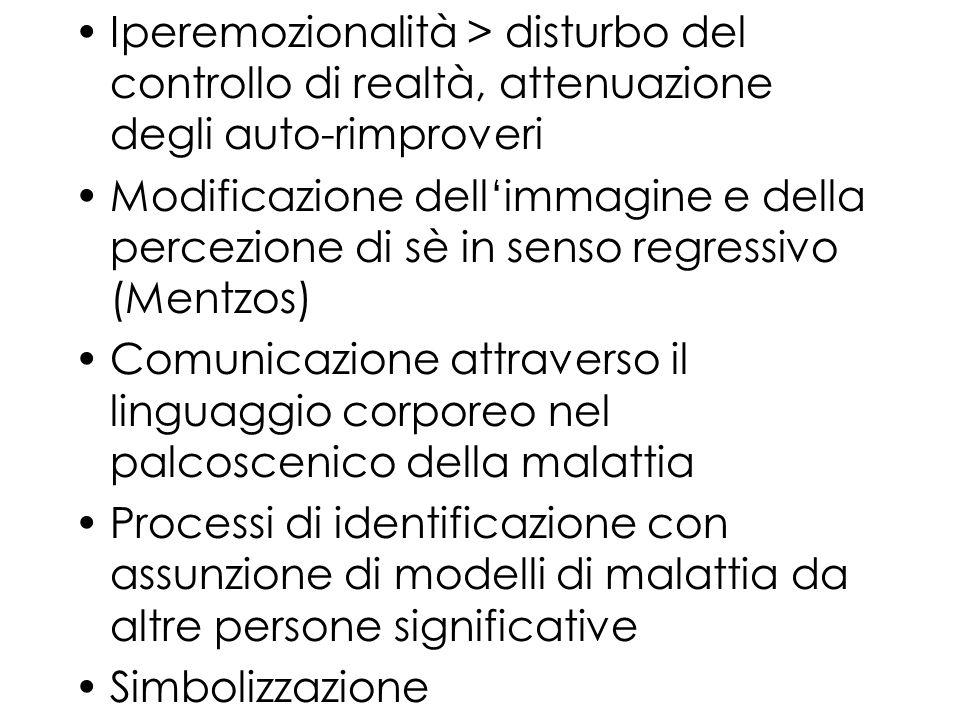 Iperemozionalità > disturbo del controllo di realtà, attenuazione degli auto-rimproveri Modificazione dellimmagine e della percezione di sè in senso r