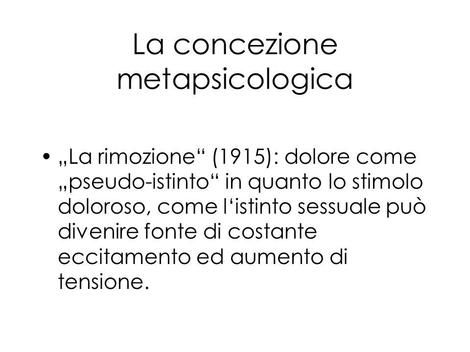 La concezione metapsicologica La rimozione (1915): dolore come pseudo-istinto in quanto lo stimolo doloroso, come listinto sessuale può divenire fonte di costante eccitamento ed aumento di tensione.