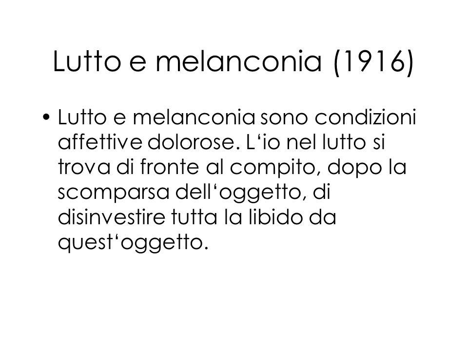 Lutto e melanconia (1916) Lutto e melanconia sono condizioni affettive dolorose. Lio nel lutto si trova di fronte al compito, dopo la scomparsa dellog
