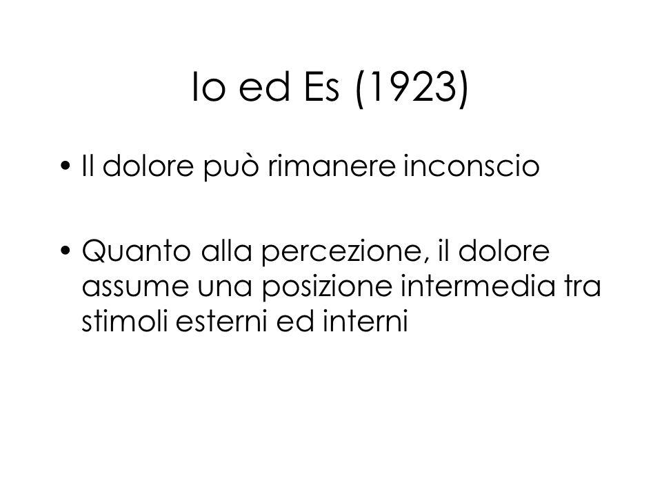 Io ed Es (1923) Il dolore può rimanere inconscio Quanto alla percezione, il dolore assume una posizione intermedia tra stimoli esterni ed interni