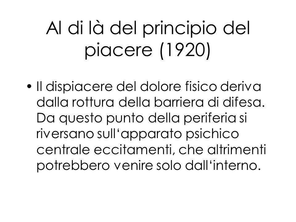 Al di là del principio del piacere (1920) Il dispiacere del dolore fisico deriva dalla rottura della barriera di difesa.