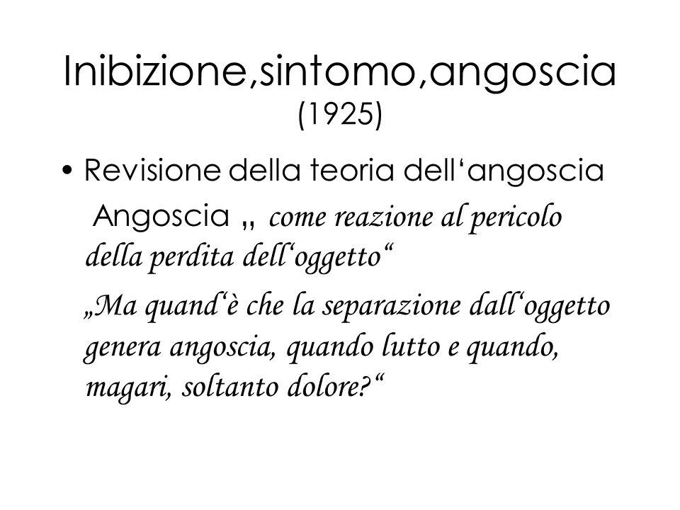 Inibizione,sintomo,angoscia (1925) Revisione della teoria dellangoscia Angoscia come reazione al pericolo della perdita delloggetto Ma quandè che la s