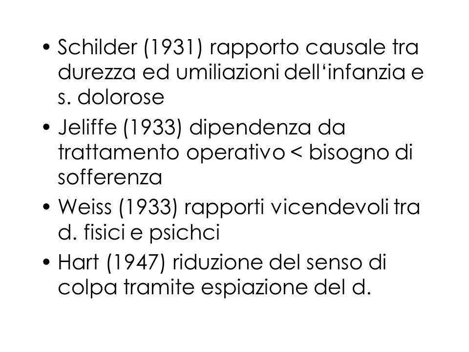 Schilder (1931) rapporto causale tra durezza ed umiliazioni dellinfanzia e s. dolorose Jeliffe (1933) dipendenza da trattamento operativo < bisogno di