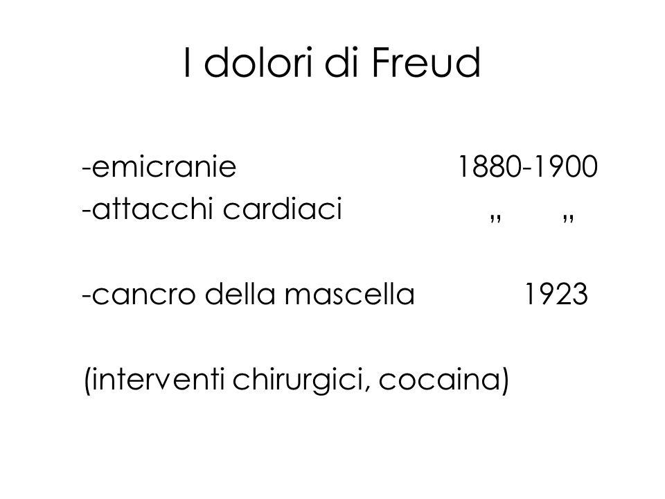 I dolori di Freud -emicranie1880-1900 -attacchi cardiaci -cancro della mascella1923 (interventi chirurgici, cocaina)