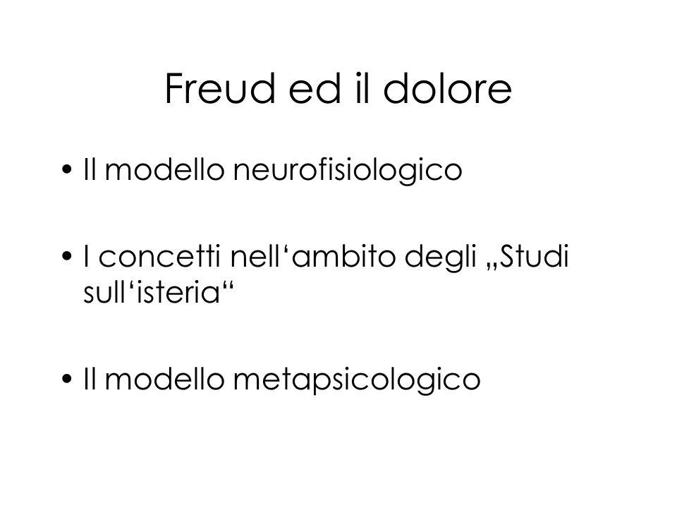 Freud ed il dolore Il modello neurofisiologico I concetti nellambito degli Studi sullisteria Il modello metapsicologico
