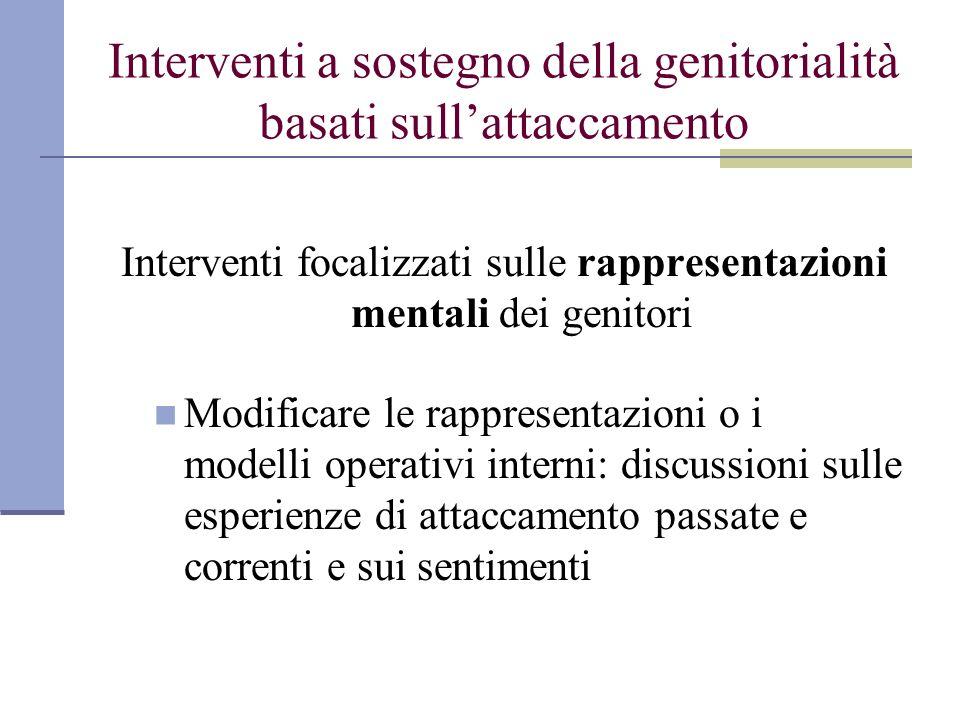 Interventi a sostegno della genitorialità basati sullattaccamento Interventi focalizzati sulle rappresentazioni mentali dei genitori Modificare le rap